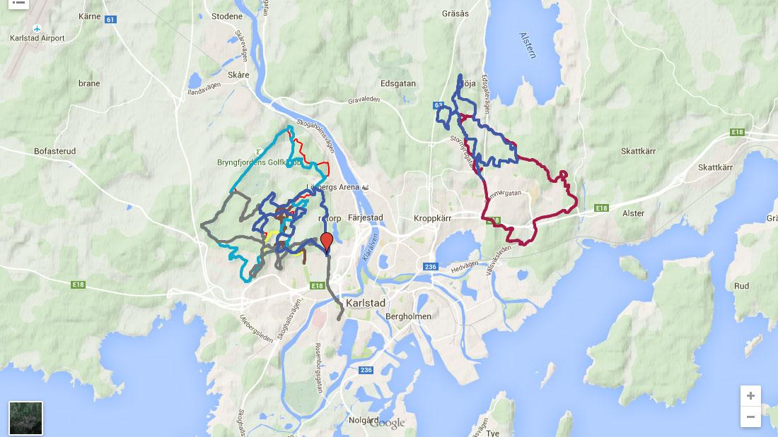stigkarta med cykelstigar
